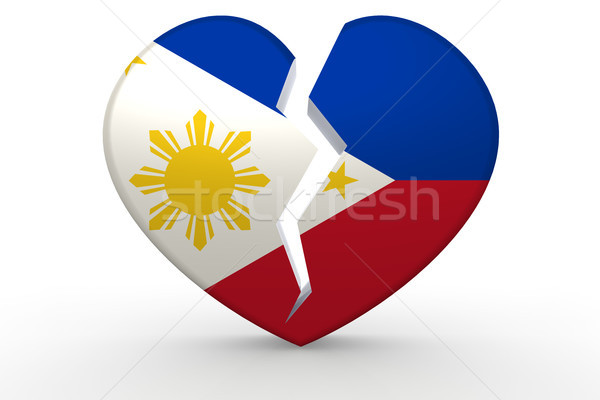 Broken white heart shape with Philippines flag Stock photo © tang90246