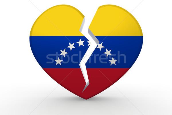 Broken white heart shape with Venezuela flag Stock photo © tang90246