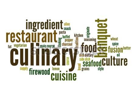 Gasztronómiai szófelhő étel felhő főzés grafikus Stock fotó © tang90246