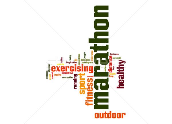 Maraton chmura słowo sportu tłum zdrowia zabawy Zdjęcia stock © tang90246