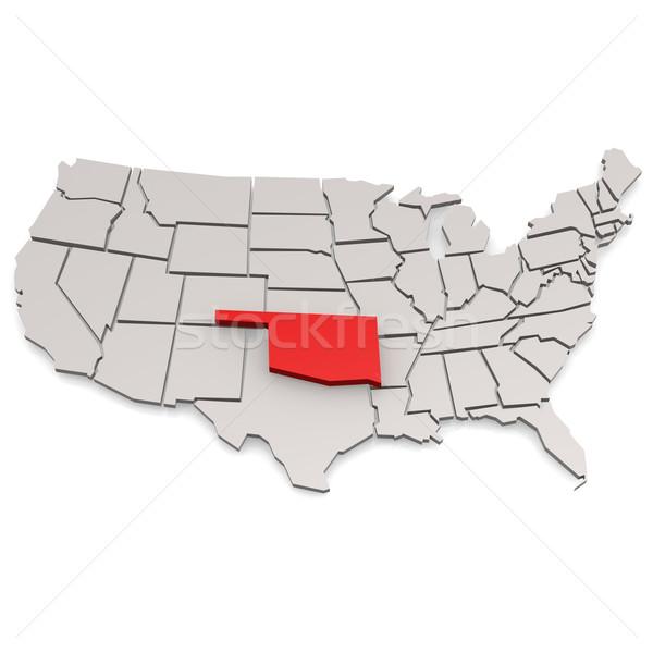 Oklahoma kaart reizen witte USA grens Stockfoto © tang90246