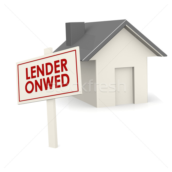 Stock photo: Lender owned banner with house