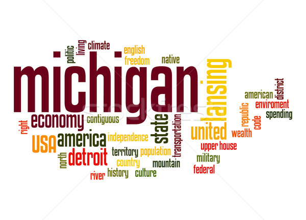 Michigan word cloud nube libertà storia grafica Foto d'archivio © tang90246