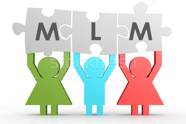 MLM - Multi Level Marketing puzzle in a line Stock photo © tang90246