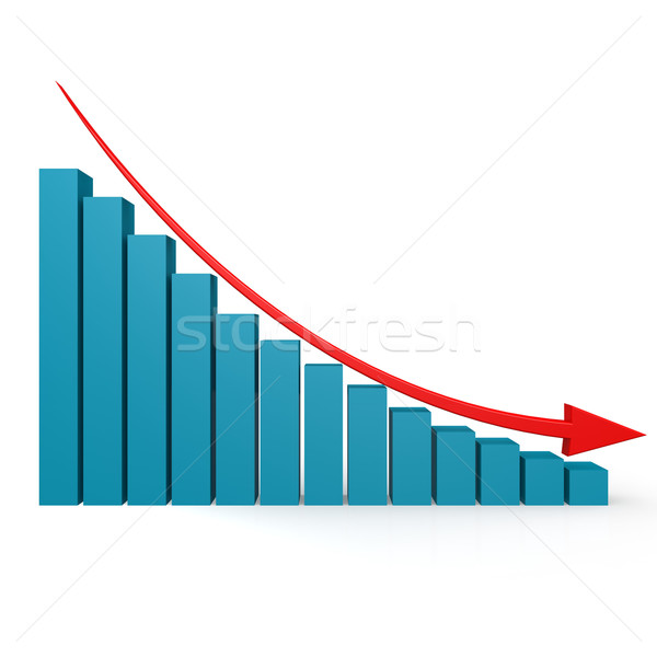 Blue graph and red arrow down Stock photo © tang90246