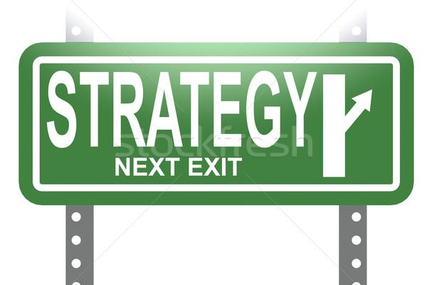 Strategie groene teken boord geïsoleerd afbeelding Stockfoto © tang90246