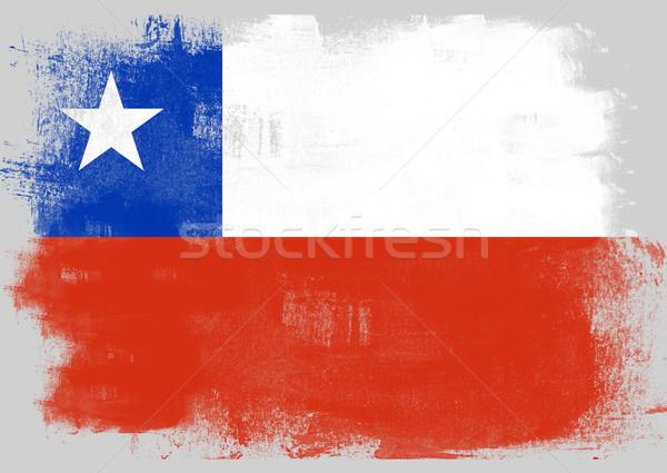 Zászló Chile festett ecset szilárd absztrakt Stock fotó © tang90246