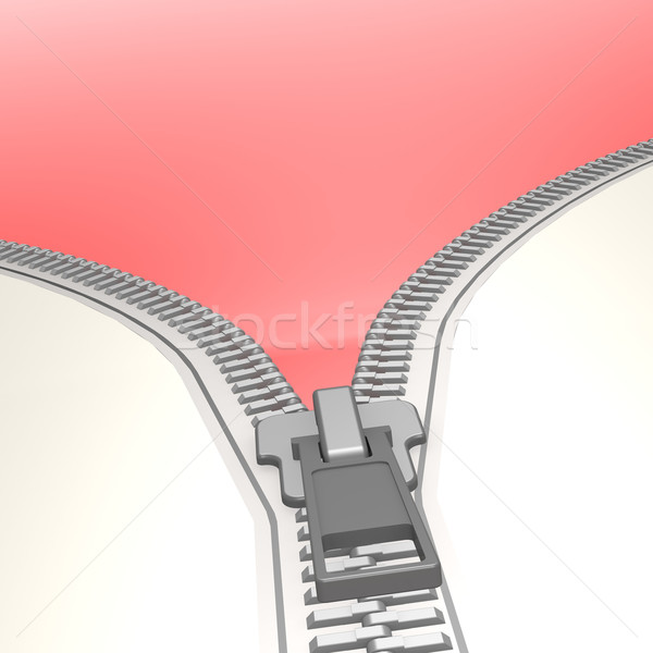 Isolated zipper with red background Stock photo © tang90246