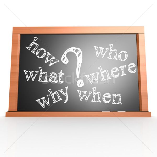 Where, When, What, Who, Why, How written with Chalk on Blackboar Stock photo © tang90246