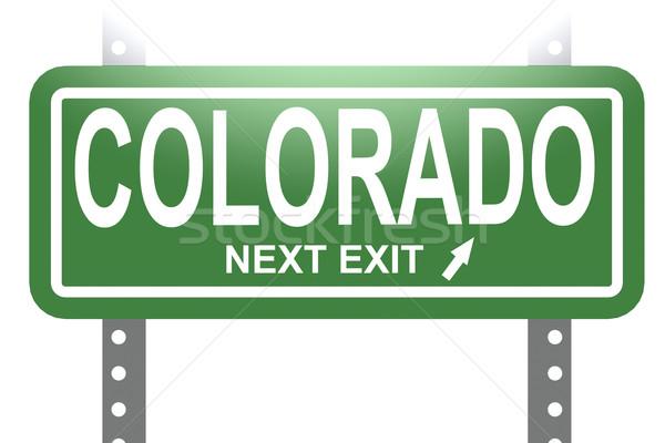 Colorado yeşil imzalamak tahta yalıtılmış görüntü Stok fotoğraf © tang90246