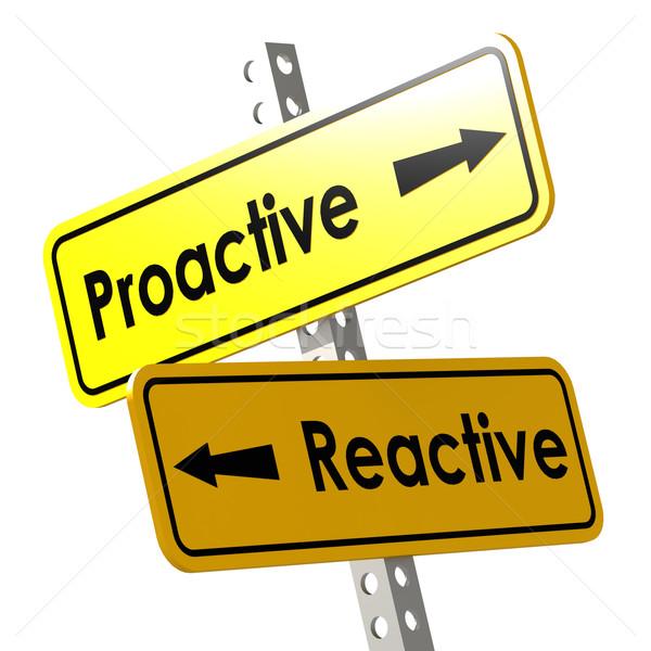 Proativa palavra amarelo placa sinalizadora imagem prestados Foto stock © tang90246
