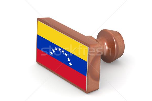 Fából készült bélyeg Venezuela zászló kép renderelt Stock fotó © tang90246