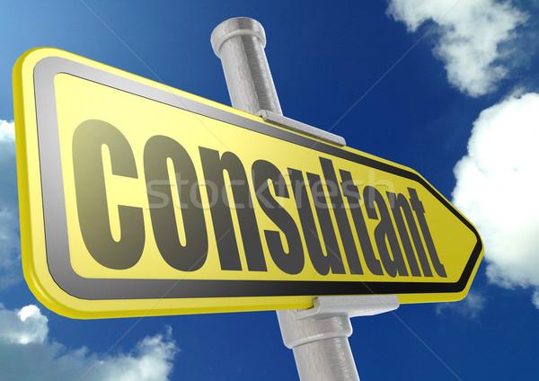 Giallo cartello stradale consulente parola cielo blu immagine Foto d'archivio © tang90246