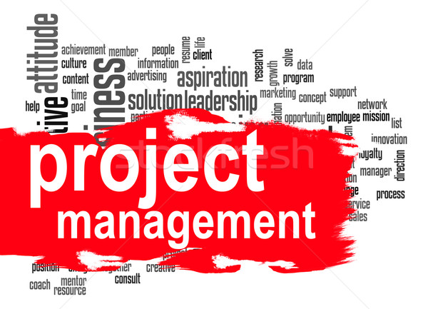 Project management word cloud with red banner Stock photo © tang90246