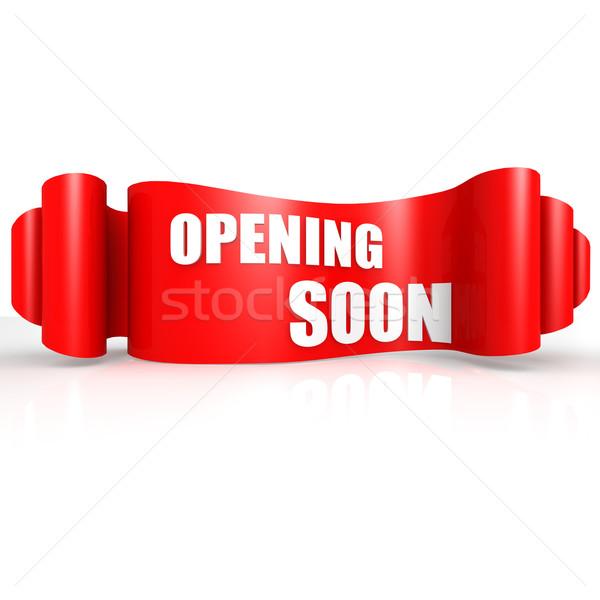 Nyitás hamarosan piros hullám szalag jegyzet Stock fotó © tang90246
