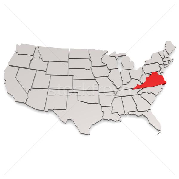 Virginia térkép kép renderelt mű használt Stock fotó © tang90246
