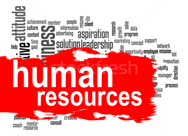 Human resources word cloud with red banner Stock photo © tang90246