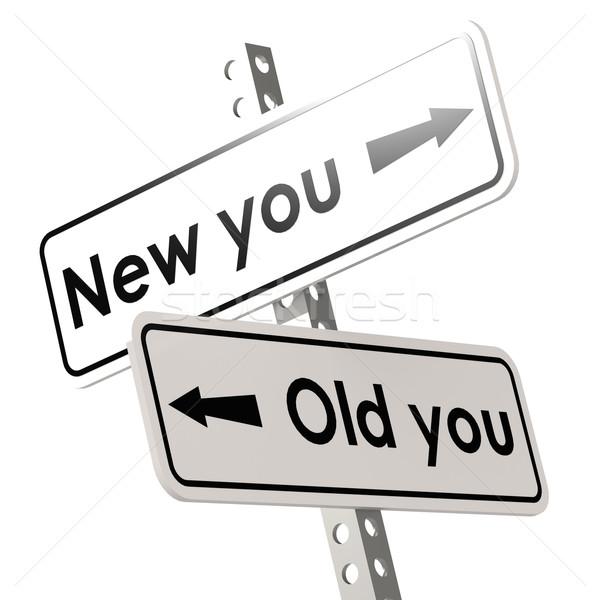 Nuovo vecchio cartello stradale bianco colore immagine a colori Foto d'archivio © tang90246
