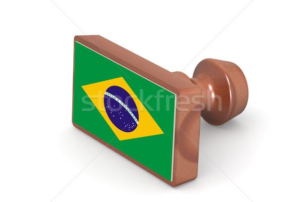 Pieczęć Brazylia banderą obraz świadczonych Zdjęcia stock © tang90246