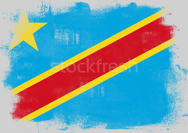 Flag of Democratic Republic of the Congo painted with brush Stock photo © tang90246