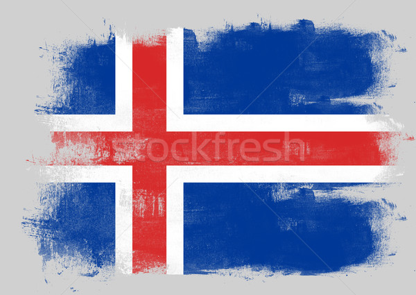 Flag of Iceland painted with brush Stock photo © tang90246