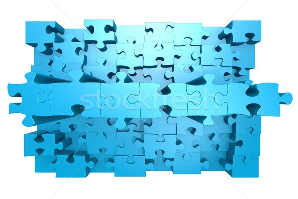 Blue jigsaw puzzle with 3D effect Stock photo © tang90246