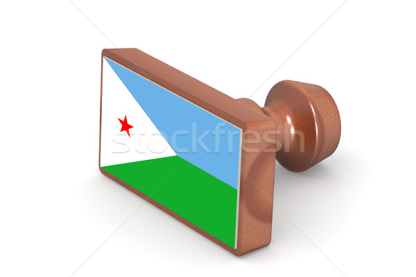 Wooden stamp with Djibouti flag Stock photo © tang90246