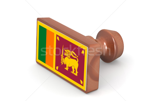 Wooden stamp with Sri Lanka flag Stock photo © tang90246