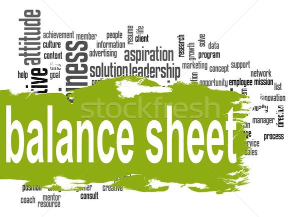 Balance sheet word cloud with green banner Stock photo © tang90246