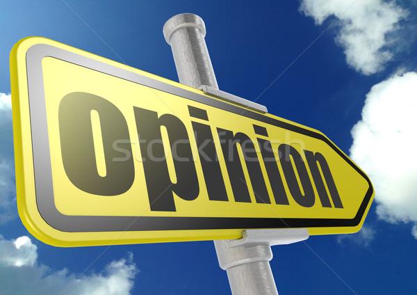 Amarelo placa sinalizadora opinião palavra blue sky imagem Foto stock © tang90246