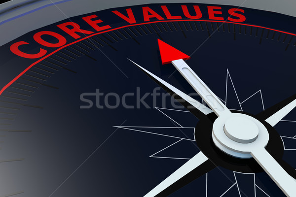 Stock photo: Black compass with core values word on it
