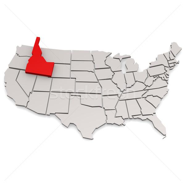 Idaho kaart reizen witte USA grens Stockfoto © tang90246