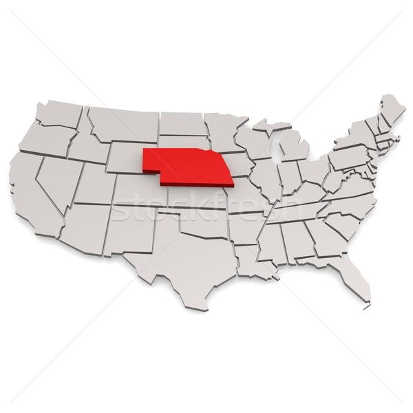 Nebraska mapa viajar branco EUA fronteira Foto stock © tang90246