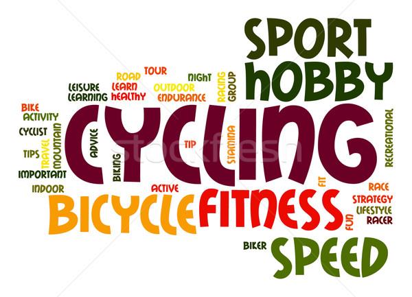 Ciclismo nuvem da palavra estrada montanha bicicleta grupo Foto stock © tang90246