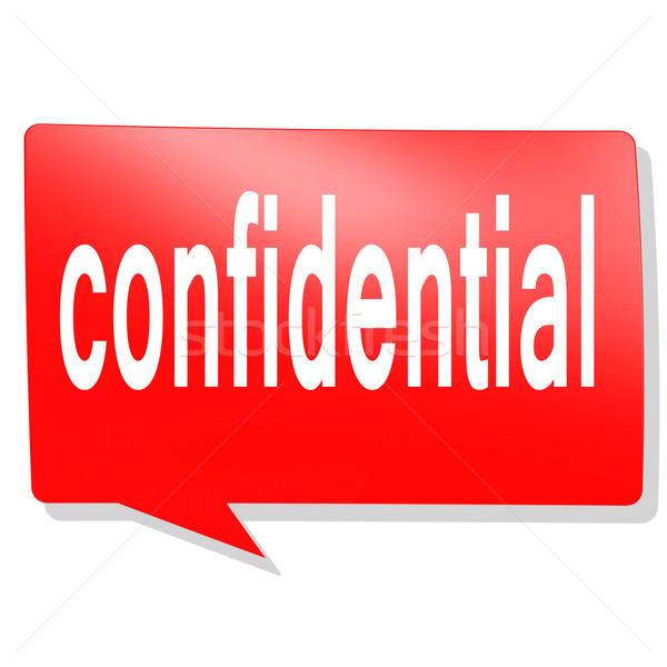 Confidencial palavra vermelho balão de fala imagem prestados Foto stock © tang90246