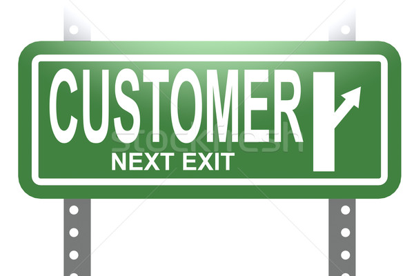 Customer green sign board isolated Stock photo © tang90246