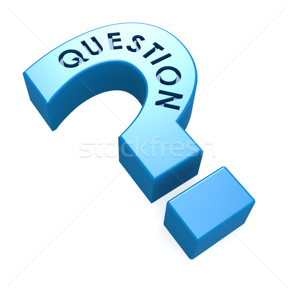 Blue isolated question mark Stock photo © tang90246