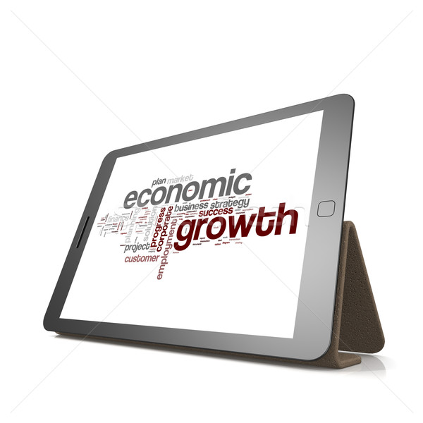 Economic growth word cloud on tablet Stock photo © tang90246
