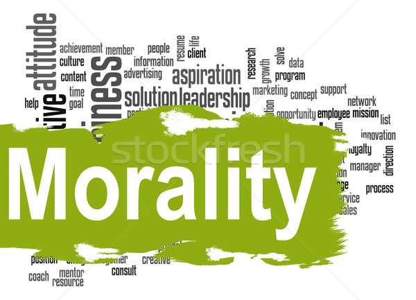 Moraliteit woordwolk groene banner afbeelding gerenderd Stockfoto © tang90246