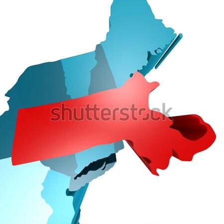 Massachusetts harita mavi ABD görüntü render Stok fotoğraf © tang90246