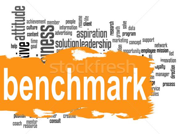 ベンチマーク 言葉の雲 オレンジ バナー 画像 レンダリング ストックフォト © tang90246