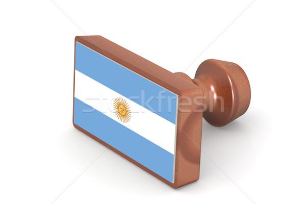 Fából készült bélyeg Argentína zászló kép renderelt Stock fotó © tang90246
