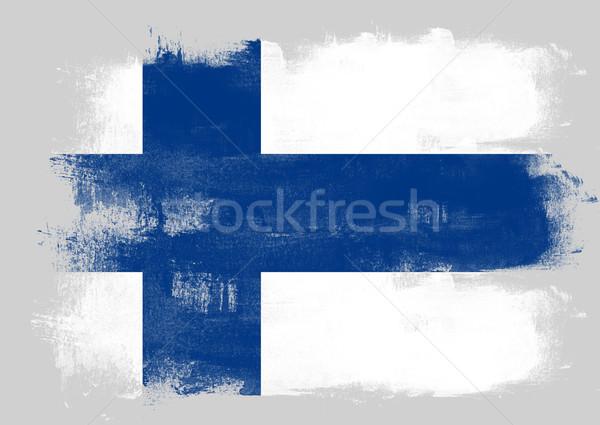 Bandeira Finlândia pintado escove sólido abstrato Foto stock © tang90246