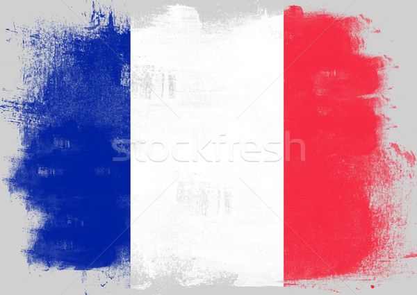 Flag of France painted with brush Stock photo © tang90246