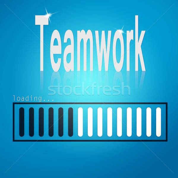 Teamwork blue loading bar Stock photo © tang90246