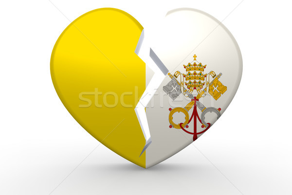Broken white heart shape with Vatican City flag Stock photo © tang90246