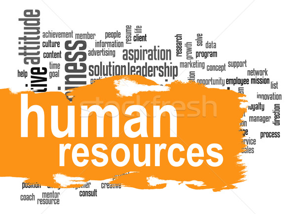 Human resources word cloud with orange banner Stock photo © tang90246