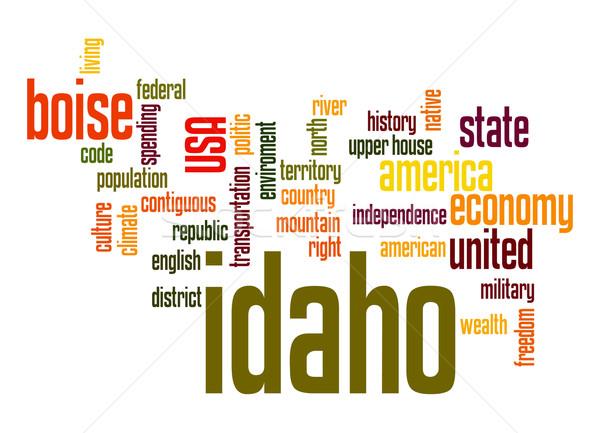 Idaho kelime bulutu bulut özgürlük tarih grafik Stok fotoğraf © tang90246