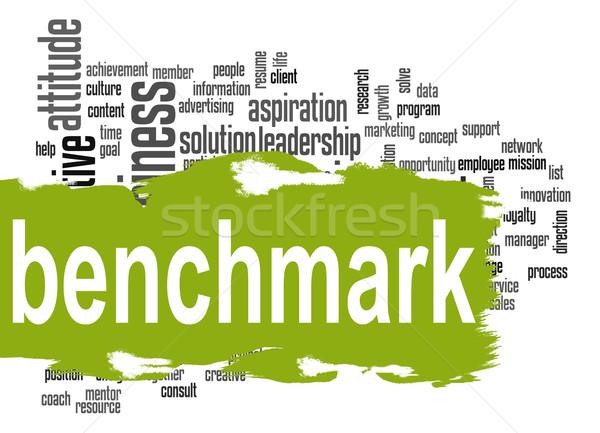 ベンチマーク 言葉の雲 緑 バナー 画像 レンダリング ストックフォト © tang90246