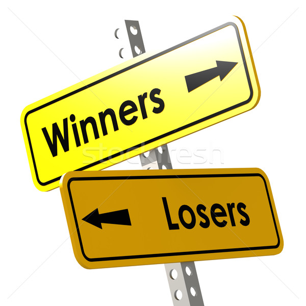 Winners and losers with yellow road sign Stock photo © tang90246